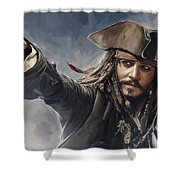 Pirates Of The Caribbean Johnny Depp Artwork 2 Shower Curtain by Sheraz A