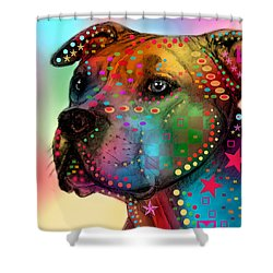 Pit Bull Shower Curtain by Mark Ashkenazi