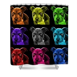 Pitbull Puppy Pop Art - 7085 Bb - M Shower Curtain by James Ahn