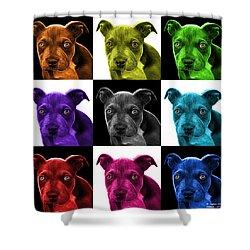 Pitbull Puppy Pop Art - 7085 V1 - M Shower Curtain by James Ahn