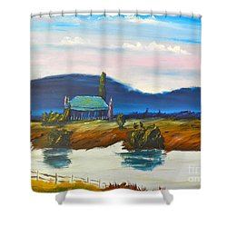 Shower Curtain featuring the painting Pittown by Pamela  Meredith