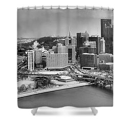 Pittsburgh Black And White Winter Panorama Shower Curtain