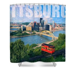 Pittsburgh Digital Painting Shower Curtain by Sharon Dominick