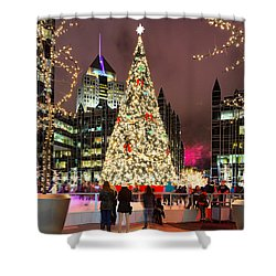 Shower Curtain featuring the photograph Pittsburgh Holiday Season 2 by Emmanuel Panagiotakis