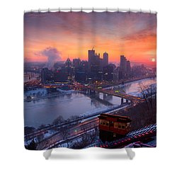 Shower Curtain featuring the photograph Pittsburgh Skyline Winter 2 by Emmanuel Panagiotakis