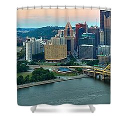 Pittsburgh Panorama At Dusk Shower Curtain