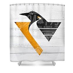 Pittsburgh Penguins Hockey Team Retro Logo Vintage Recycled Pennsylvania License Plate Art Shower Curtain