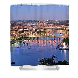 Pittsburgh Pennsylvania Skyline At Dusk Sunset Extra Wide Panorama Shower Curtain