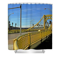 Pittsburgh - Roberto Clemente Bridge Shower Curtain by Frank Romeo