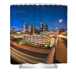 Shower Curtain featuring the photograph Pittsburgh Skyline Winter by Emmanuel Panagiotakis