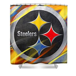 Pittsburgh Steelers Football Shower Curtain by Tony Rubino