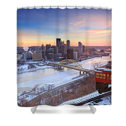 Shower Curtain featuring the photograph Pittsburgh Winter 2 by Emmanuel Panagiotakis