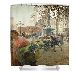 Place Du Theatre Francais Paris Shower Curtain by Eugene Galien-Laloue