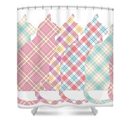 Plaid Cats Shower Curtain by Peggy Collins