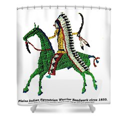 Plains Indians Equestrian Warrior Circa 1850 Shower Curtain by Peter Gumaer Ogden