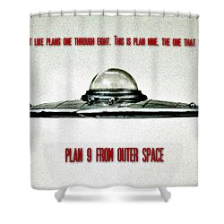 Plan 9 Seinfeld Shower Curtain by Benjamin Yeager