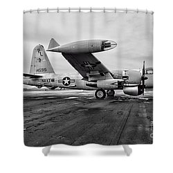 Plane - P2v-7 Neptune Aircraft Shower Curtain by Paul Ward