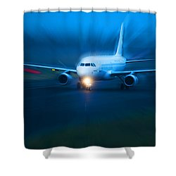 Plane Takes Of At Dusk Shower Curtain by Michal Bednarek