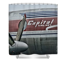 Plane Vintage Capital Airlines Shower Curtain by Paul Ward