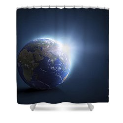 Planet Earth And Sunlight On A Dark Shower Curtain by Evgeny Kuklev