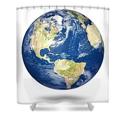 Planet Earth On White - America Shower Curtain