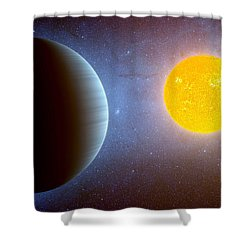 Planet Kepler10 Stellar Family Portrait Shower Curtain by Movie Poster Prints