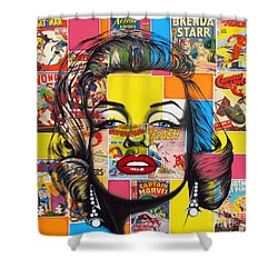 Shower Curtain featuring the mixed media Planet Marilyn by Joseph Sonday