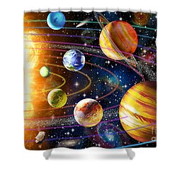 Planetary System Shower Curtain by Adrian Chesterman
