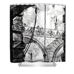 Plate 4 From The Carceri Series Shower Curtain by Giovanni Battista Piranesi