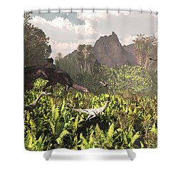 Plateosaurus And Ceolophysis Dinosaurs Shower Curtain by Arthur Dorety