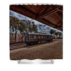 platform view of the first railway station of Tel Aviv Shower Curtain by Ron Shoshani