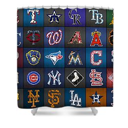 Play Ball Recycled Vintage Baseball Team Logo License Plate Art Shower Curtain by Design Turnpike