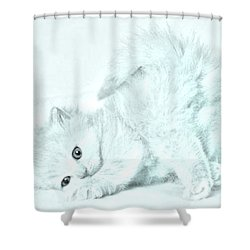 Playful Kitty Shower Curtain by J D Owen