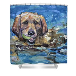 Playful Retriever Shower Curtain