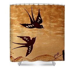 Shower Curtain featuring the painting Playful Swallows Original Coffee Painting by Georgeta  Blanaru