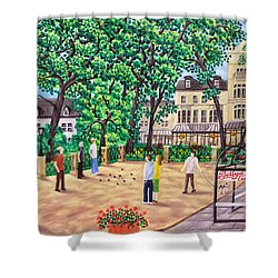 Playing Boules At Betty's Cafe- Harrogate Shower Curtain by Ronald Haber