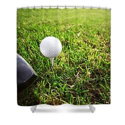 Playing Golf. Club And Ball On Tee Shower Curtain by Michal Bednarek