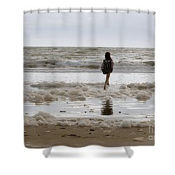 Shower Curtain featuring the photograph Girl Playing In Sea Foam by Haleh Mahbod