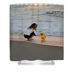 Playing In The Ocean Shower Curtain by Cynthia Guinn