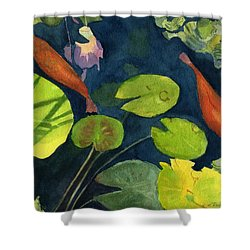 Playing Koi Shower Curtain by Lynne Reichhart