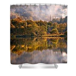 Playing Mirror. Loch Achray. Scotland Shower Curtain by Jenny Rainbow