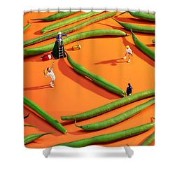 Playing Tennis Among French Beans Little People On Food Shower Curtain