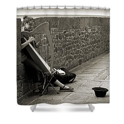 Playing The Celtic Harp Shower Curtain by RicardMN Photography