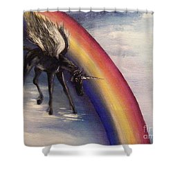 Playing With Rainbow Shower Curtain by Karen  Ferrand Carroll