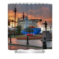 Plaza De Luna Shower Curtain by David Troxel