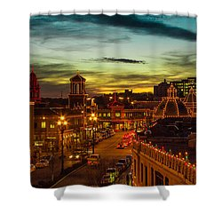 Plaza Lights At Sunset Shower Curtain