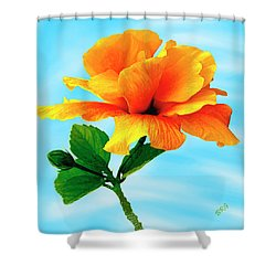 Pleasure - Yellow Double Hibiscus Shower Curtain by Ben and Raisa Gertsberg