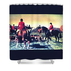 Plum Run Hunt Opening Day Shower Curtain by Angela Davies