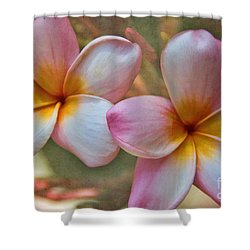 Shower Curtain featuring the photograph Plumeria Pair by Peggy Hughes