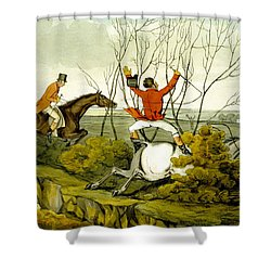Plunging Through The Hedge From Qualified Horses And Unqualified Riders Shower Curtain by Henry Thomas Alken
